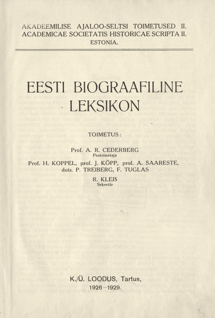 Eesti biograafiline leksikon I trükk
