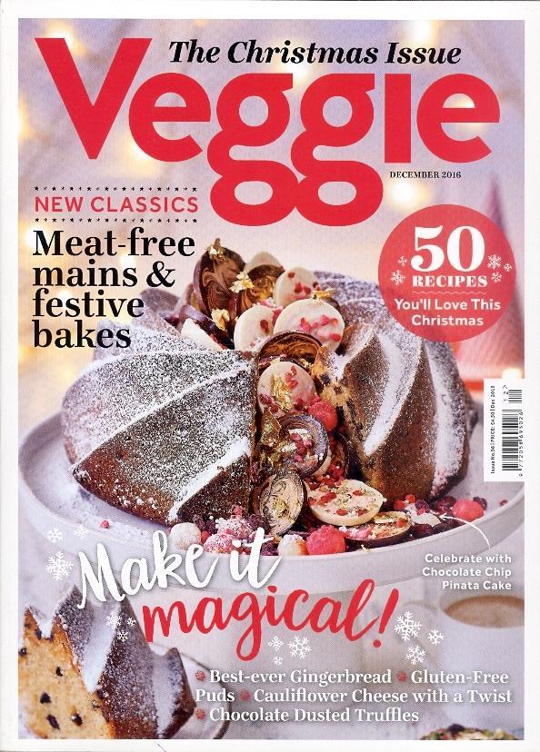 """Trükise """"Veggie, December 2016 The Christmas Issue"""" kaanepilt. Cover picture of """"Veggie, December 2016 The Christmas Issue""""."""