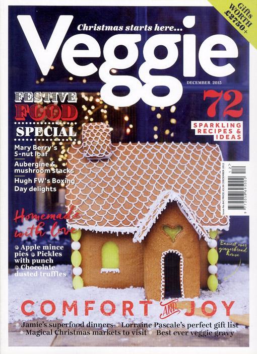 """Trükise """"Veggie, December 2015 Christmas starts here …"""" kaanepilt. Cover picture of """"Veggie, December 2015 Christmas starts here …""""."""