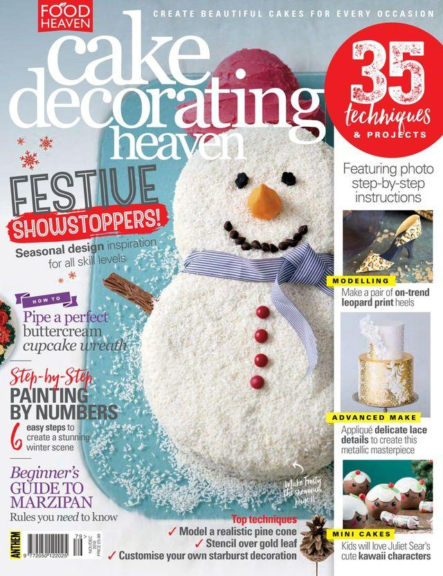 """Trükise """"Food Heaven Cake Decorating Heaven, November-December 2018 35 techniques and projects"""" kaanepilt. Cover picture of """"Food Heaven Cake Decorating Heaven, November-December 2018 35 techniques and projects""""."""
