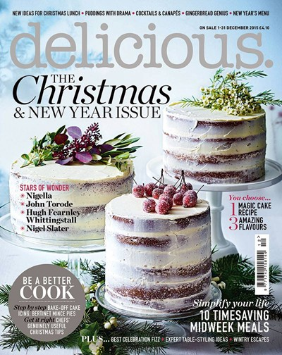 "Trükise ""Delicious Magazine, December 2015 The Christmas and New Year Issue"" kaanepilt. Cover picture of ""Delicious Magazine, December 2015 The Christmas and New Year Issue""."
