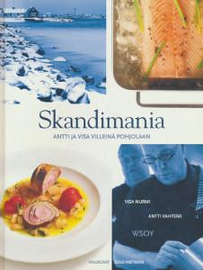 """Trükise """"Skandimania Antti ja Visa villeinä Pohjolaan"""" kaanepilt. Cover picture of """"Skandimania Antti ja Visa villeinä Pohjolaan""""."""