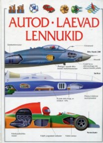 """Trükise """"Autod, laevad, lennukid"""" kaanepilt. Cover picture of """"Autod, laevad, lennukid""""."""