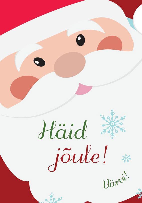 """Trükise """"Häid jõule! Värvi!"""" kaanepilt. Cover picture of """"Häid jõule! Värvi!""""."""