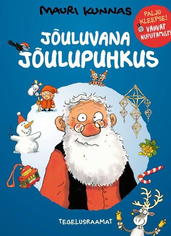 """Trükise """"Jõuluvana jõulupuhkus Tegelusraamat"""" kaanepilt. Cover picture of """"Jõuluvana jõulupuhkus Tegelusraamat""""."""