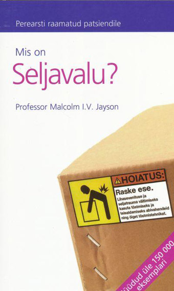"Trükise ""Mis on seljavalu?"" kaanepilt. Cover picture of ""Mis on seljavalu?""."