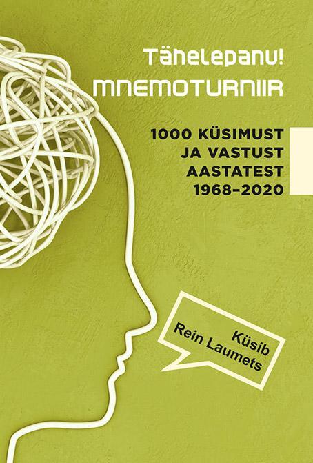 """Trükise """"Tähelepanu! Mnemoturniir 1000 küsimust ja vastust aastatest 1968–2020"""" kaanepilt. Cover picture of """"Tähelepanu! Mnemoturniir 1000 küsimust ja vastust aastatest 1968–2020""""."""