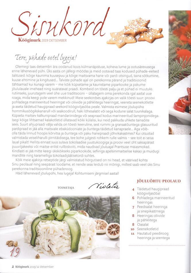 Kööginurk Jõuluroad retseptid nõuanded detsember 2019 lehekülg 2